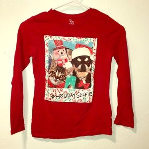 Red Christmas Holiday Selfie Graphic Shirt
